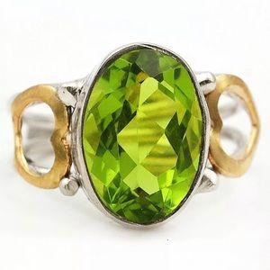 Jewelry - Two Tone Peridot Heart 925 Ring Size 8